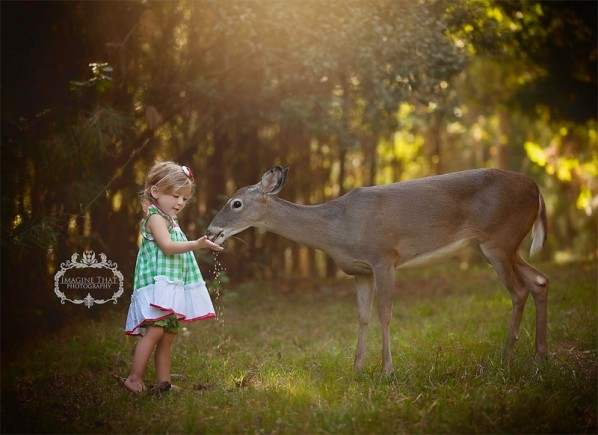 Photoshoot with Deer and Child
