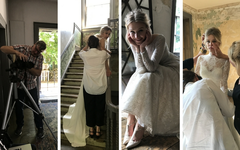 Sassi Holford wedding dress campaign photo shoot