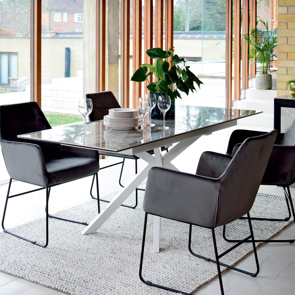 Dwell Interior Bolzano extending 6-8 seater dining table lifestyle image - Shootfactory